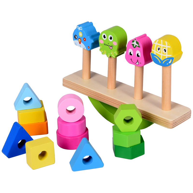 Wooden-Stacking-Toys-with-Geometry-Shape-Stacking-Blocks-amp-Stacker-Stackin-Z4B3 thumbnail 2