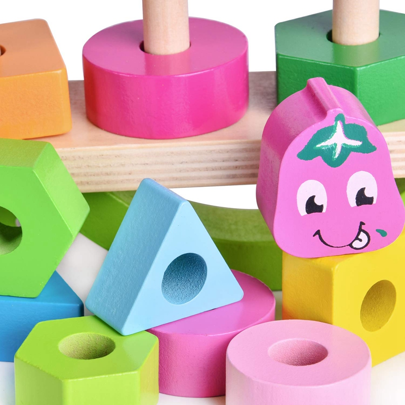 Wooden-Stacking-Toys-with-Geometry-Shape-Stacking-Blocks-amp-Stacker-Stackin-Z4B3 thumbnail 5