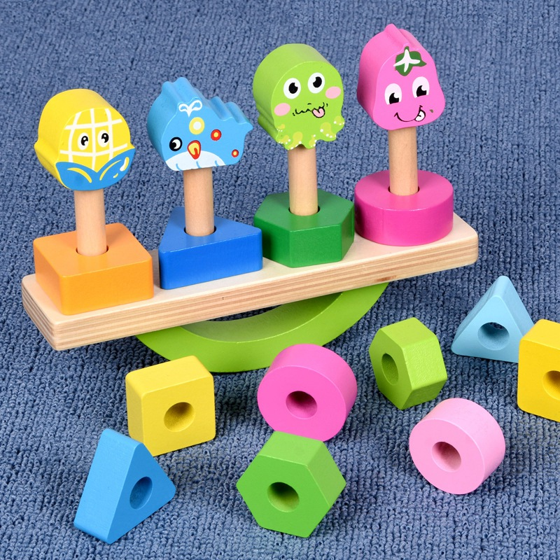 Wooden-Stacking-Toys-with-Geometry-Shape-Stacking-Blocks-amp-Stacker-Stackin-Z4B3 thumbnail 6