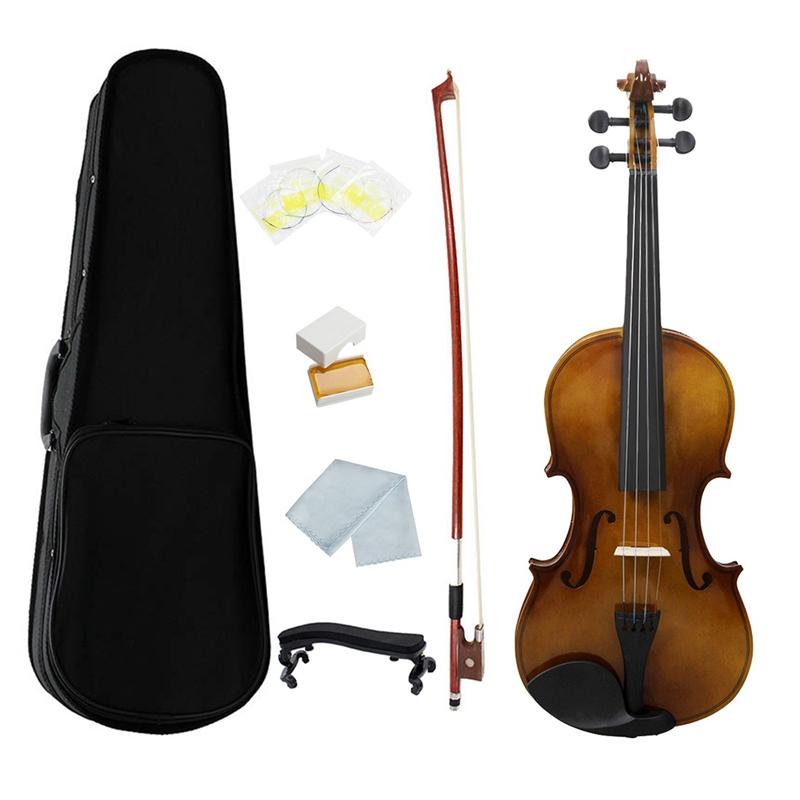 Violín violín miniatura con el arco y la caja para la decoración en el estilo