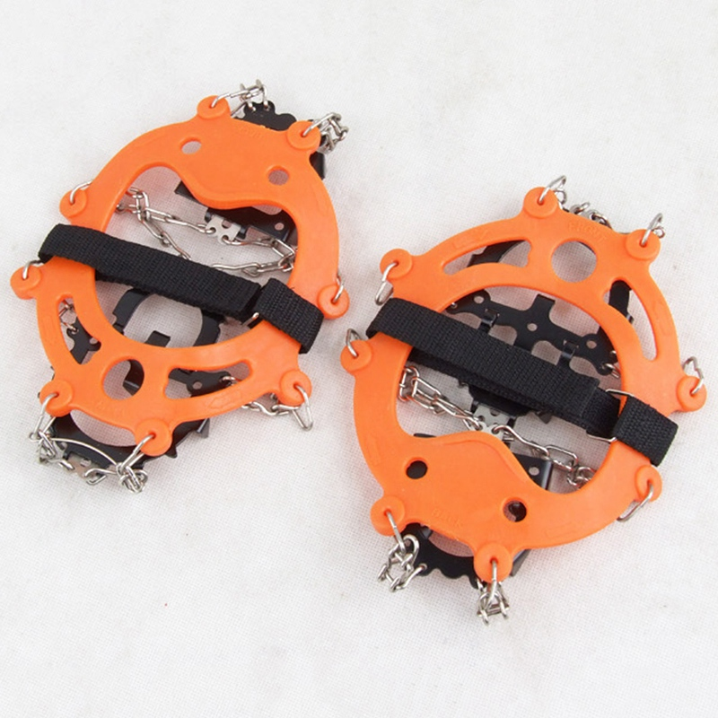 Crampons-12-Teeth-Anti-Slip-Ice-Snow-Traction-Cleats-Crampons-Ice-Snow-Grip-F1E7 thumbnail 2