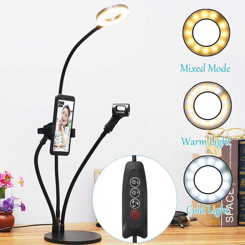 1X-Flexible-Selfie-Live-Stream-Holder-with-LED-Camera-Light-Dimmable-Lazy-DE2J9 thumbnail 4