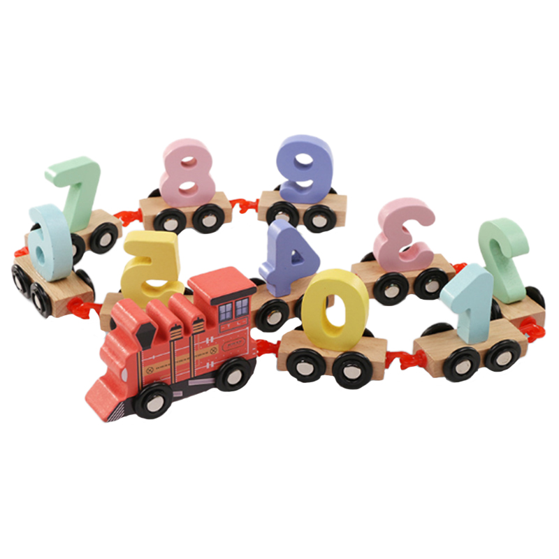 Wooden-Train-Toy-Set-11Pcs-Building-Block-Train-Toy-Train-Digital-Toy-Set-T-E3K2 thumbnail 2