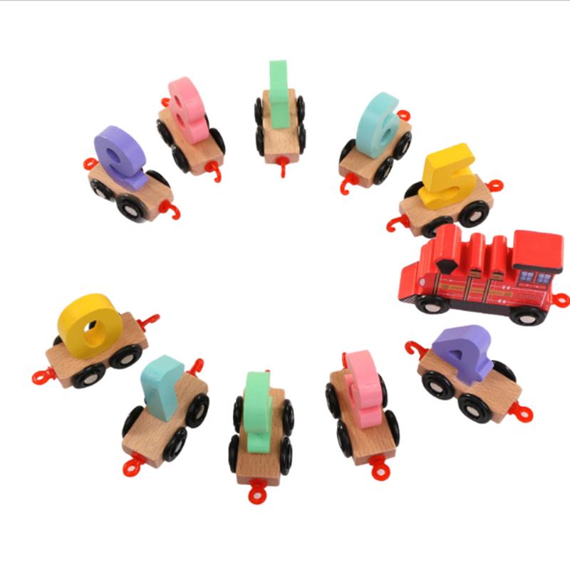 Wooden-Train-Toy-Set-11Pcs-Building-Block-Train-Toy-Train-Digital-Toy-Set-T-E3K2 thumbnail 3