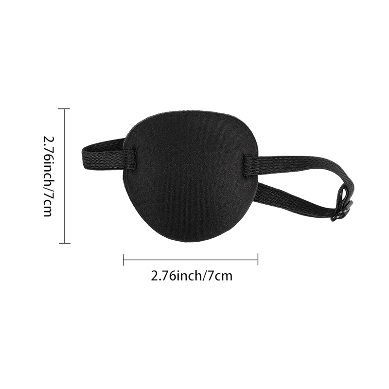 Black 3 Pack Pirate Eye Patches Adjustable Amblyopia Lazy Eye Patches with Buckle for Adults and Children