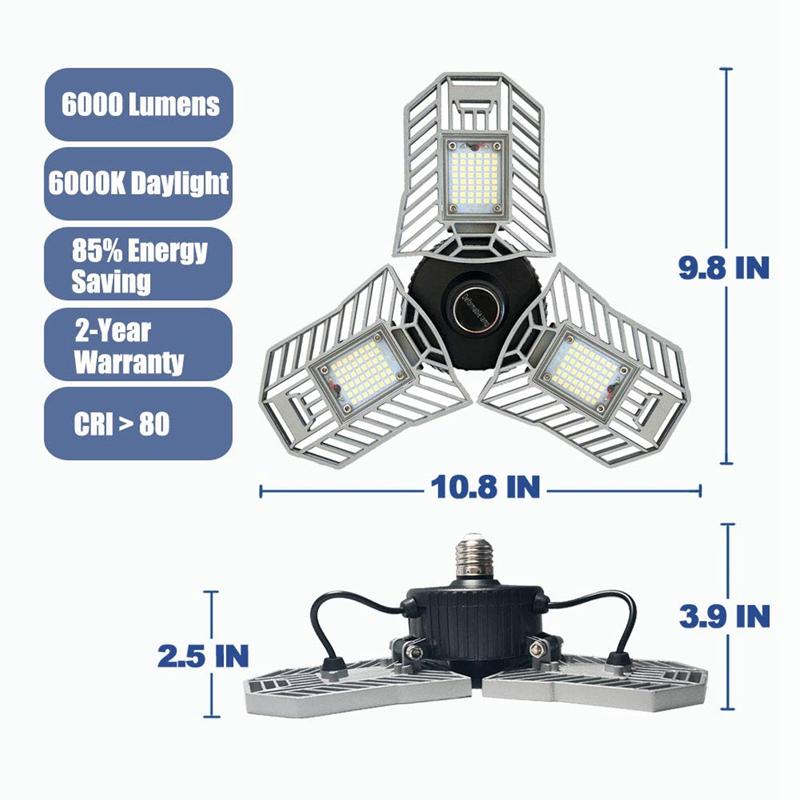 60W-LED-Garage-Lichter-E26-E27-6000LM-LED-Garage-Decken-Leuchten-fuer-Ful-C1L3 Indexbild 8