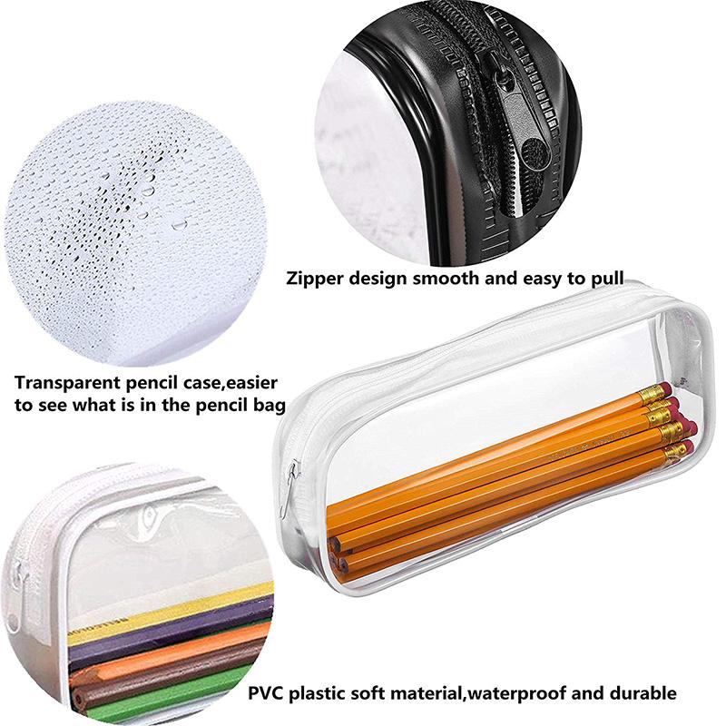 Estuche-de-LaPices-de-Pulma-de-PVC-Transparente-de-6-Piezas-con-Cremallera-para miniatura 3