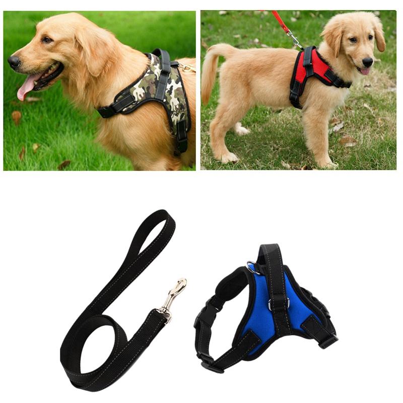Indexbild 5 - 2X(Hundegeschirr Leine Set Einstellbar Atmungsaktiv Hund Katze Kragen Weste W6X1