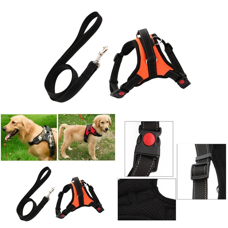 Indexbild 7 - 1X-Hundegeschirr-Leine-Set-Einstellbare-Atmungsaktive-Hund-Katze-Kragen-WesF6V7