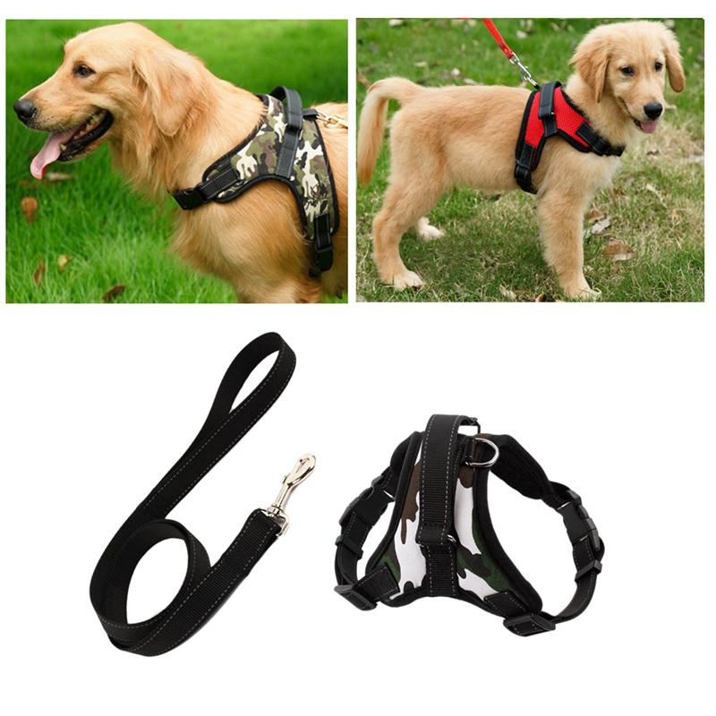 Indexbild 5 - Hundegeschirr-Leine-Set-Einstellbare-Atmungsaktive-Hund-Katze-Kragen-Weste-J1K8