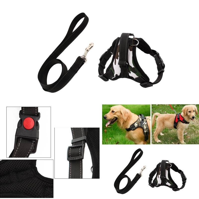 Indexbild 7 - Hundegeschirr-Leine-Set-Einstellbare-Atmungsaktive-Hund-Katze-Kragen-Weste-E5B2