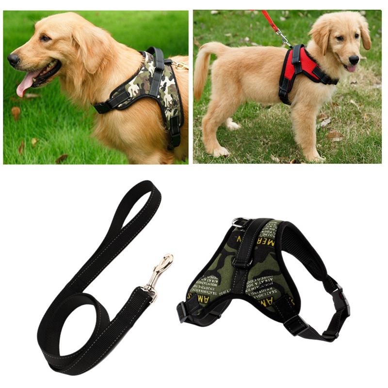 Indexbild 5 - Hundegeschirr-Leine-Set-Einstellbare-Atmungsaktive-Hund-Katze-Kragen-Weste-U4W2