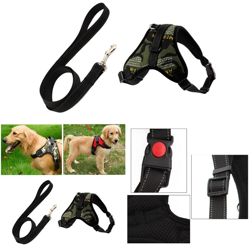 Indexbild 7 - Hundegeschirr-Leine-Set-Einstellbare-Atmungsaktive-Hund-Katze-Kragen-Weste-U4W2