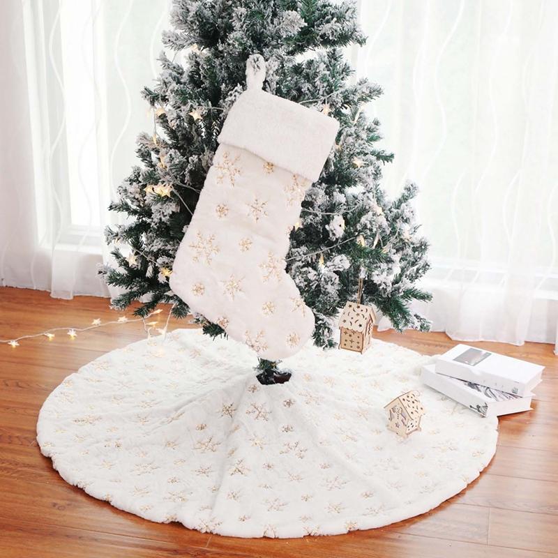 90Cm-Bordado-Blanco-Brillo-Bordado-aRbol-de-Navidad-Grupo-Copo-de-Nieve-Nav-D9N2 miniatura 15