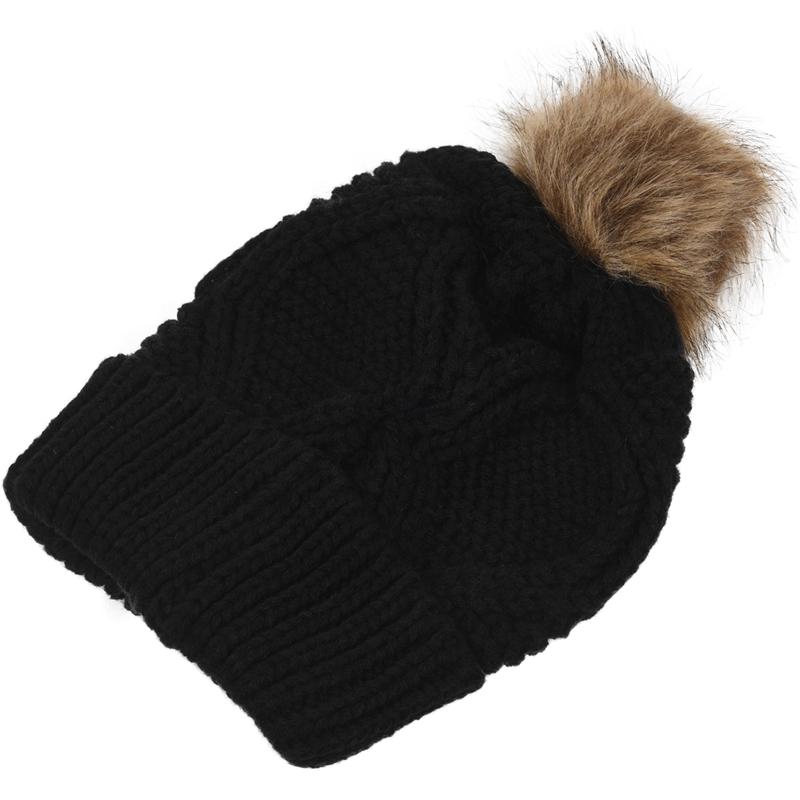 Womens-Stylish-Rhombus-knitting-Hairball-Hat-Scarf-Set-C1N4 thumbnail 3
