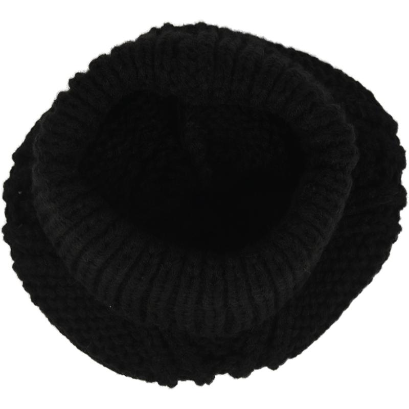Womens-Stylish-Rhombus-knitting-Hairball-Hat-Scarf-Set-C1N4 thumbnail 5
