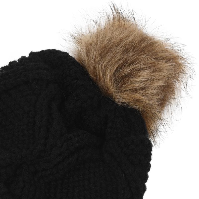 Womens-Stylish-Rhombus-knitting-Hairball-Hat-Scarf-Set-C1N4 thumbnail 8