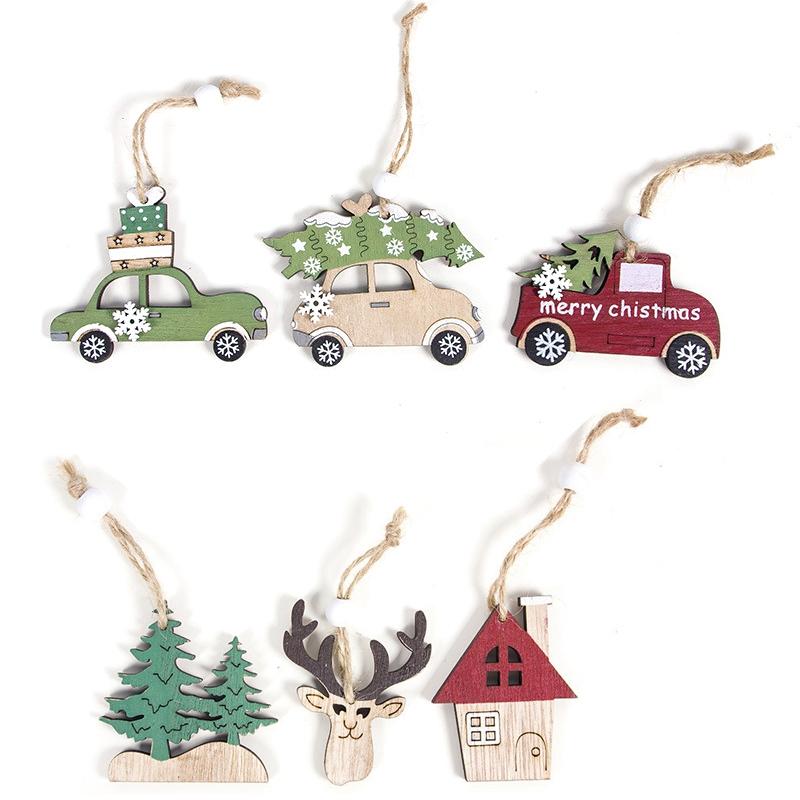 2X-12-StueCke-Holzscheiben-DIY-Weihnachten-AnhaeNger-Ornamente-mit-HaeNgen-StrV3I6