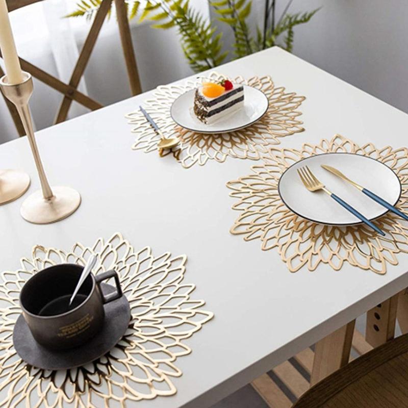 6PCS-Set-de-Table-en-PVC-pour-Table-Creuse-Pad-Coaster-Pads-Tapis-de-Bol-de-T7E9 miniature 5