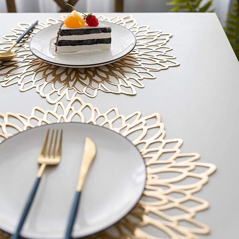 6PCS-Set-de-Table-en-PVC-pour-Table-Creuse-Pad-Coaster-Pads-Tapis-de-Bol-de-T7E9 miniature 13