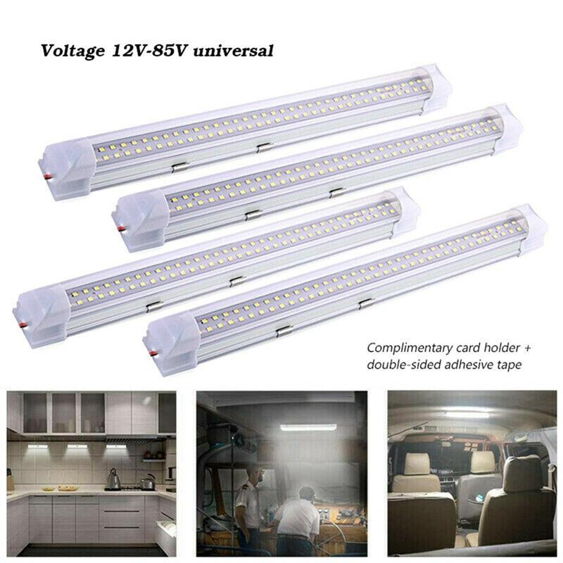 4X 72LED 12V Interior Lights Strip Bar Car Van Bus Caravan ON//OFF Switch