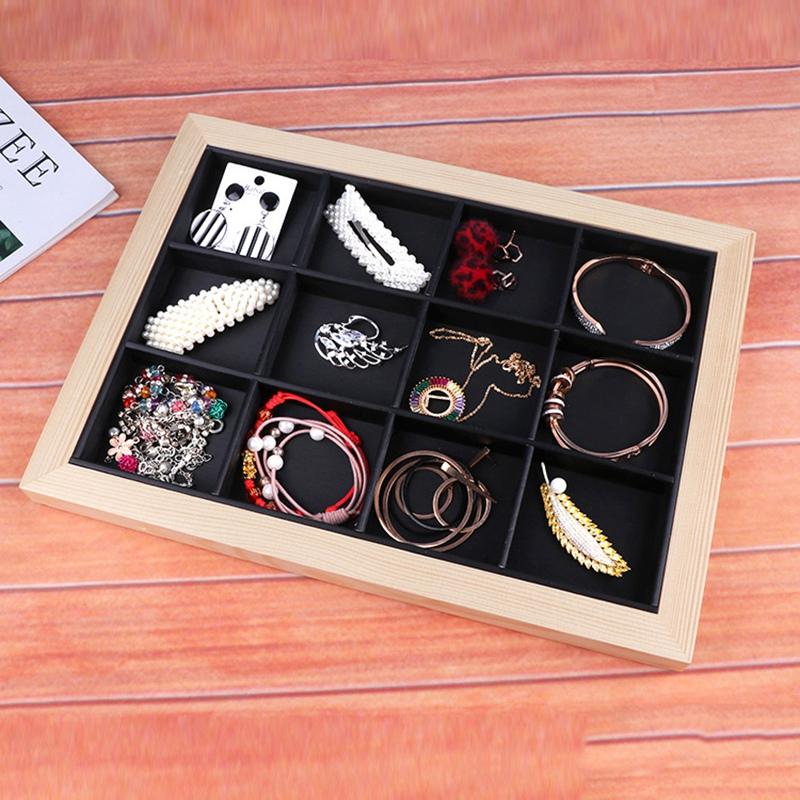 Indexbild 11 - 2X(Bambus Holz Schmuck Display Schmuck Tray Ring Halter Halsketten Organisa I4O6