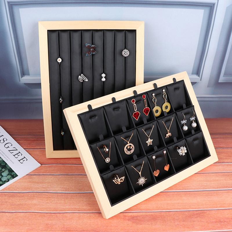 Indexbild 8 - Bambus-Holz-Schmuck-Display-Schmuck-Tray-Ring-Halter-Halsketten-Organisator-Z1M7