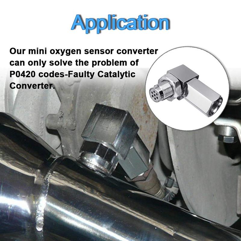 90 Degree CEL Check Engine Light Bungs O2 Sensor Socket Real Mini Catalytic Converter