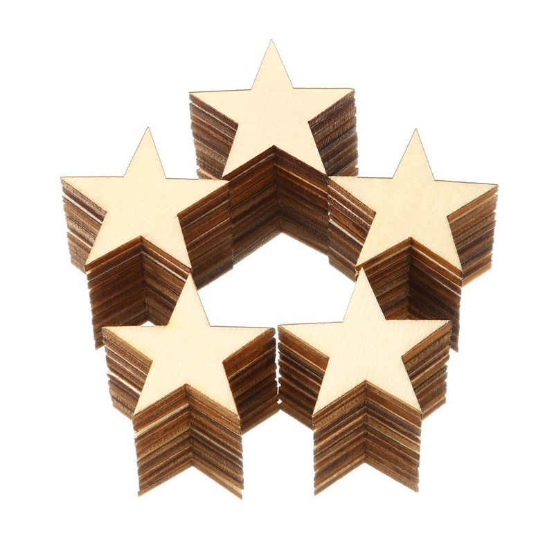 Plain Wood Craft Tags with Hole 30mm U2P6 10 x Wooden Star Shapes