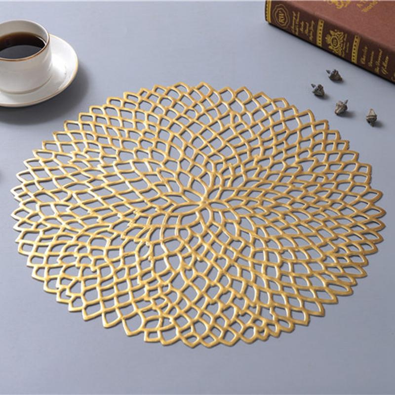 1X-4-Pcs-PVC-Sets-de-Table-Rond-Creux-ETanche-Non-Slip-Table-Tapis-IsoleS-P-H1G8 miniature 9