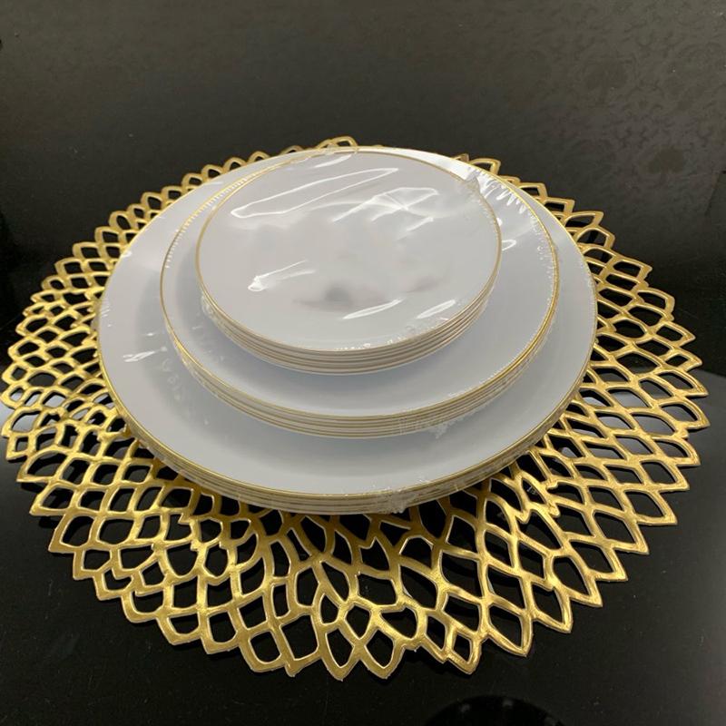 1X-4-Pcs-PVC-Sets-de-Table-Rond-Creux-ETanche-Non-Slip-Table-Tapis-IsoleS-P-H1G8 miniature 20