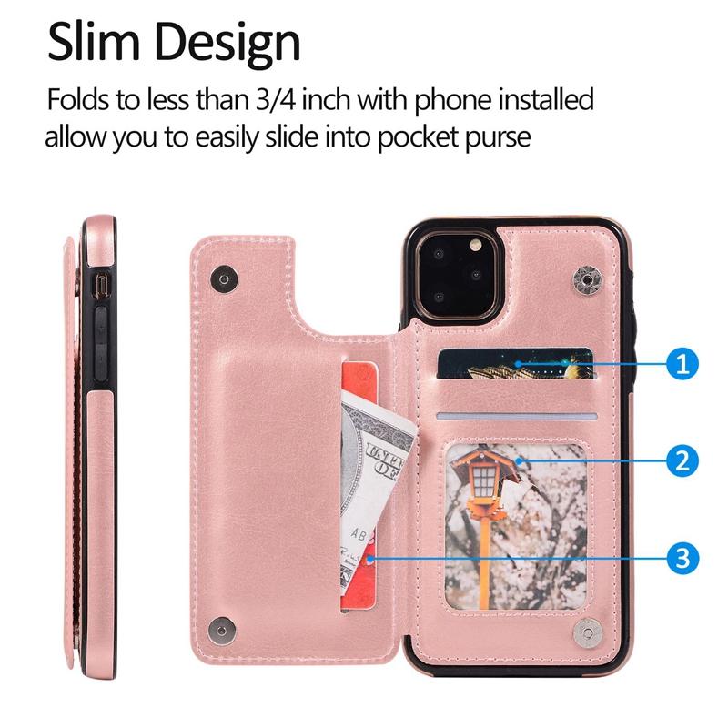 Indexbild 14 - für IPhone 11 Pro Max Magnetische PU+TPU Brieftasche Fall Kartensteckplatz U1P6