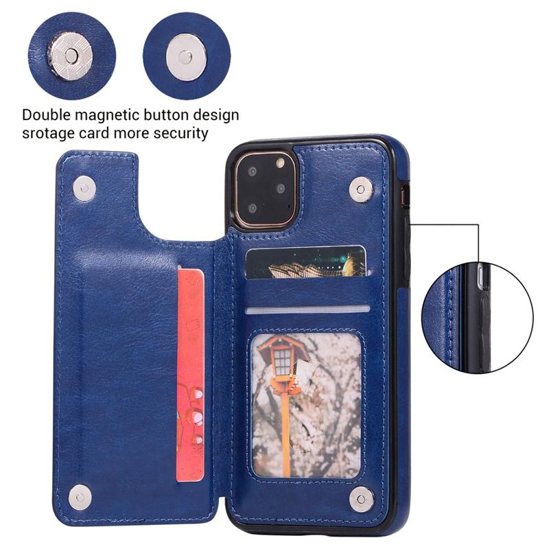 Indexbild 17 - für IPhone 11 Pro Max Magnetische PU+TPU Brieftasche Fall Kartensteckplatz U1P6
