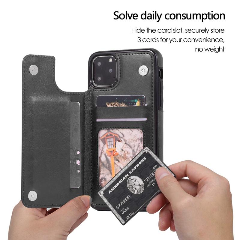 Indexbild 18 - für IPhone 11 Pro Max Magnetische PU+TPU Brieftasche Fall Kartensteckplatz U1P6
