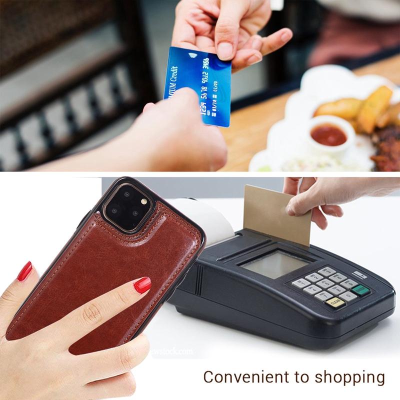 Indexbild 20 - für IPhone 11 Pro Max Magnetische PU+TPU Brieftasche Fall Kartensteckplatz U1P6