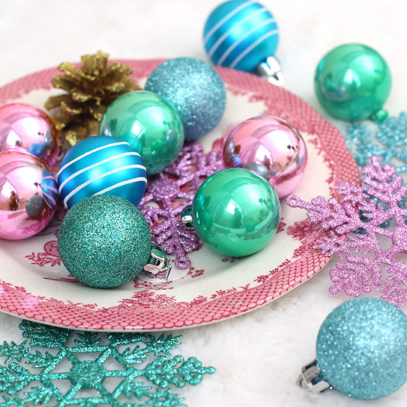 1X-24Pcs-Balls-Grind-Silver-Pink-Hanging-Different-Adorable-Christmas-Ball-G4X7 thumbnail 5
