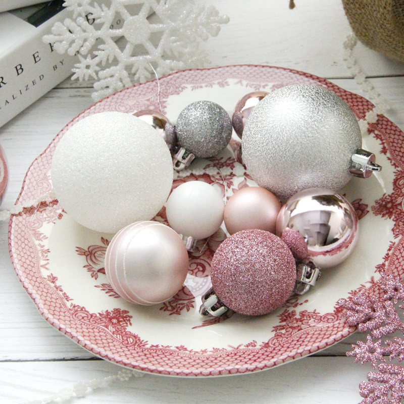 1X-24Pcs-Balls-Grind-Silver-Pink-Hanging-Different-Adorable-Christmas-Ball-G4X7 thumbnail 6