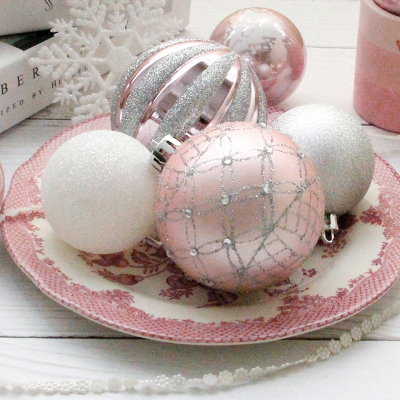 1X-24Pcs-Balls-Grind-Silver-Pink-Hanging-Different-Adorable-Christmas-Ball-G4X7 thumbnail 8