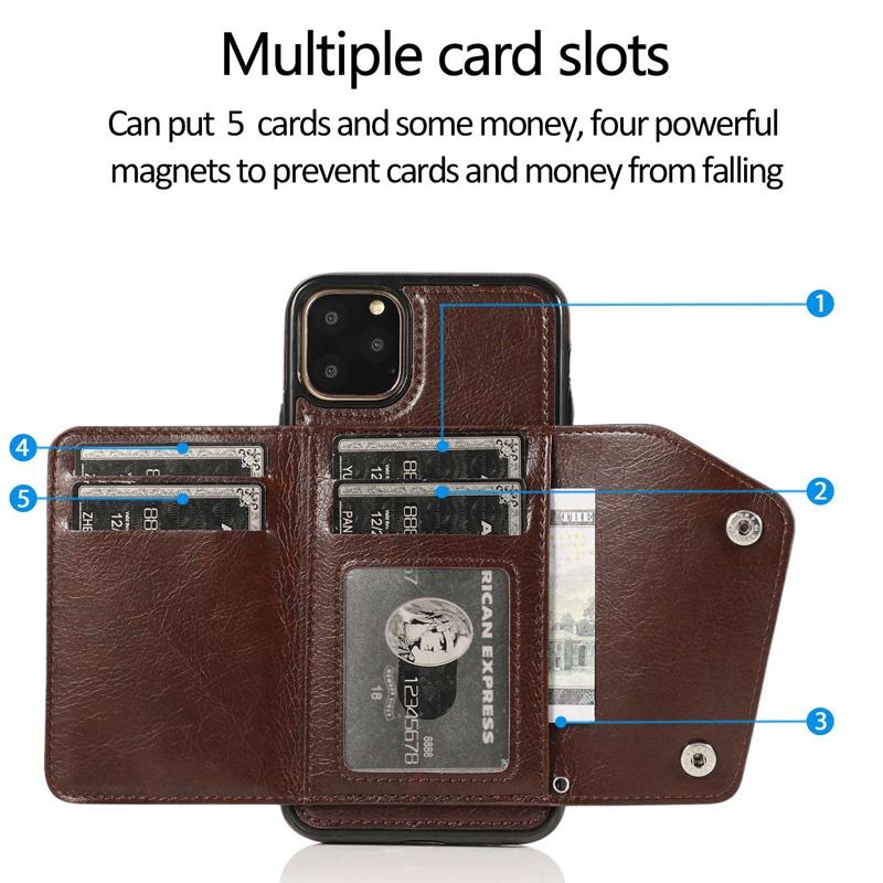 1X-pour-Iphone-11-Pro-Portefeuille-Pochette-en-Cuir-Fente-pour-Carte-de-Cre-P8H6 miniature 3
