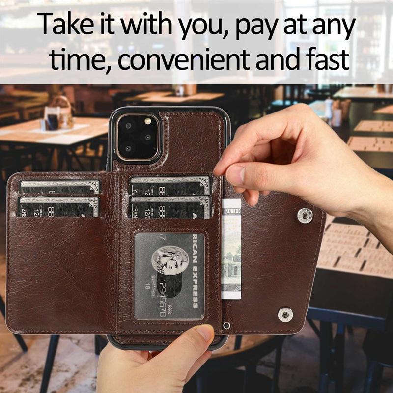 1X-pour-Iphone-11-Pro-Portefeuille-Pochette-en-Cuir-Fente-pour-Carte-de-Cre-P8H6 miniature 5