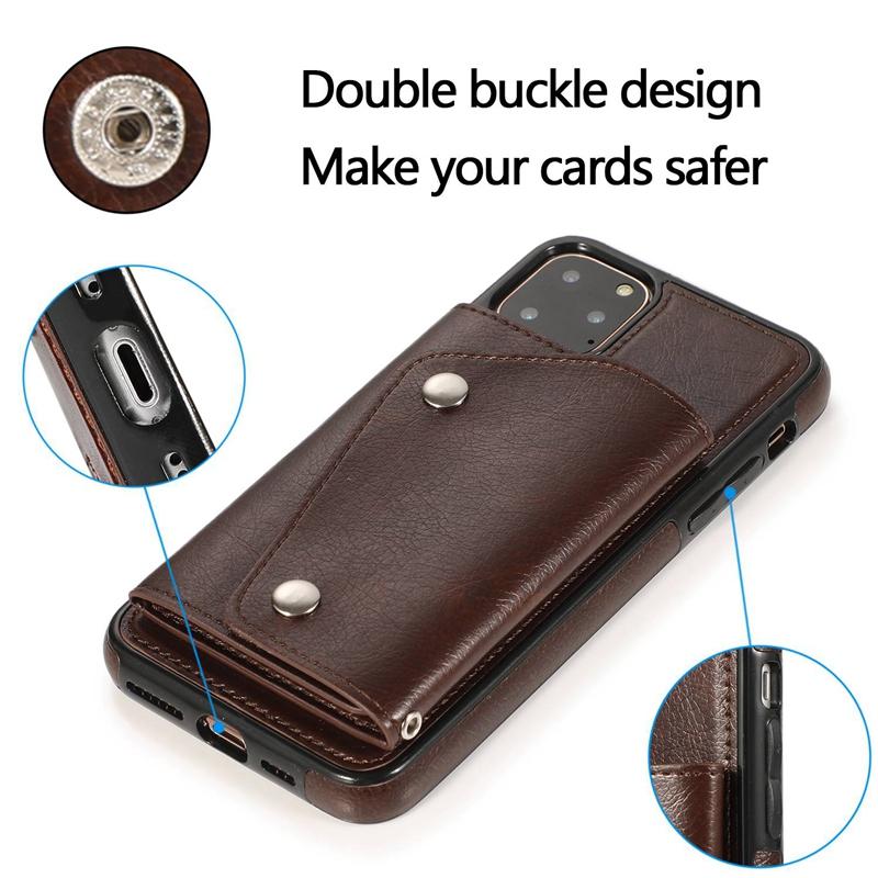 1X-pour-Iphone-11-Pro-Portefeuille-Pochette-en-Cuir-Fente-pour-Carte-de-Cre-P8H6 miniature 6