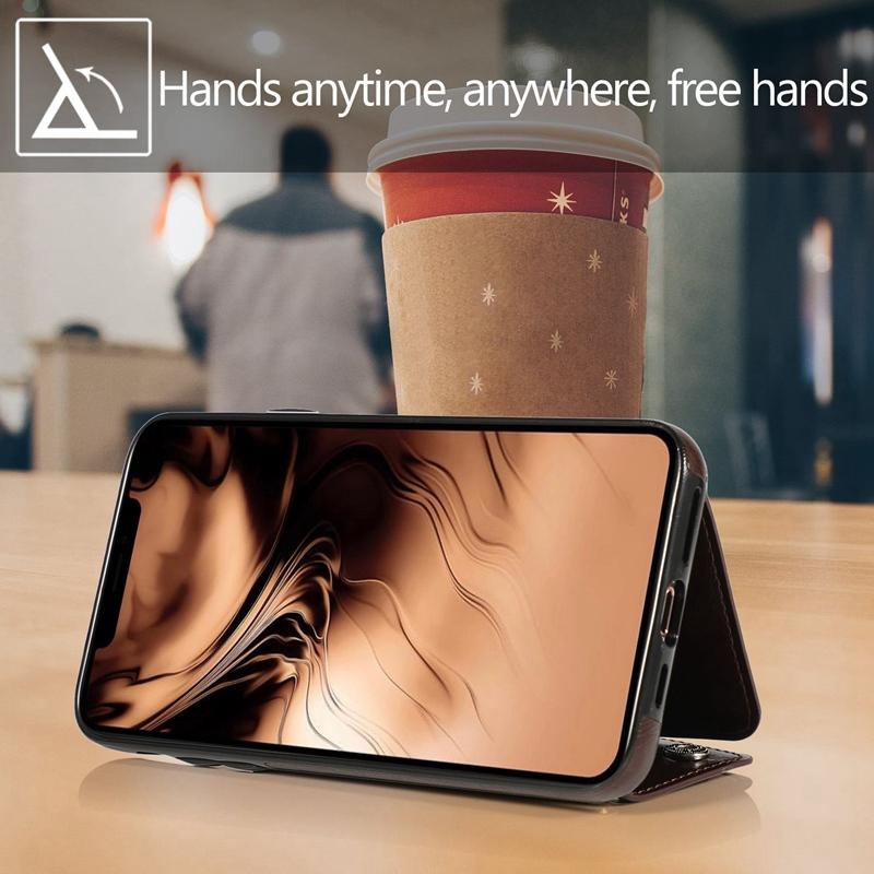 1X-pour-Iphone-11-Pro-Portefeuille-Pochette-en-Cuir-Fente-pour-Carte-de-Cre-P8H6 miniature 7