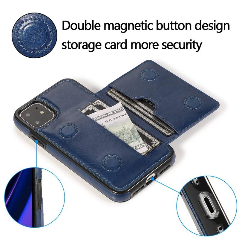 Indexbild 8 - fuer-Iphone-11-Pro-Leder-Tasche-Leder-Tasche-GeldboeRse-Karten-Steck-Platz-St-U6K5