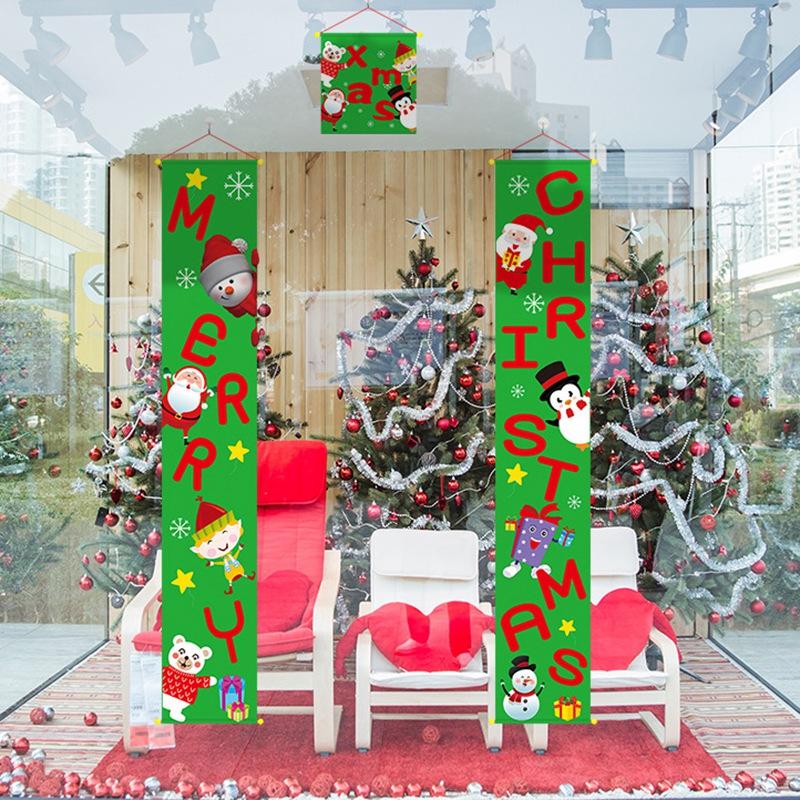 1X-Joyeux-NoeL-Porche-Signe-DeCoratif-de-Porte-BannieRe-DeCorations-de-NoeL-E6X4 miniature 7