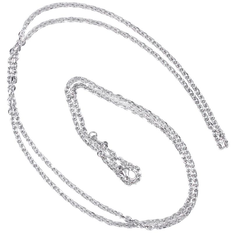 """Indexbild 40 - Schmuck Damen Kette,Edelstahl """"O"""" Halskette,Silber-Breite 2mm-Laenge 50cm W9X7"""