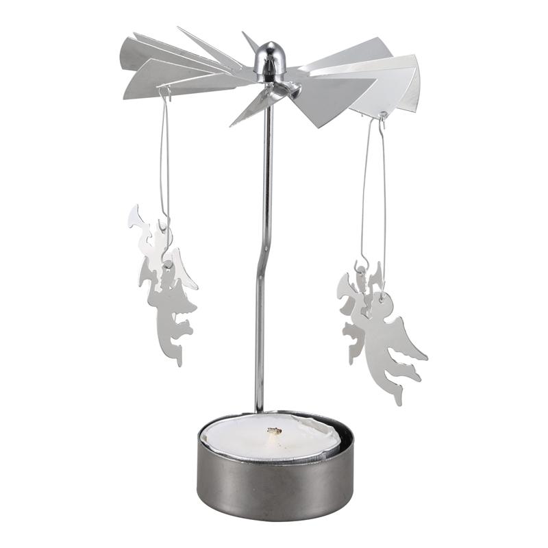 Noël Photophore-Spinning Argent Noël Décoration Cadeau Bougies