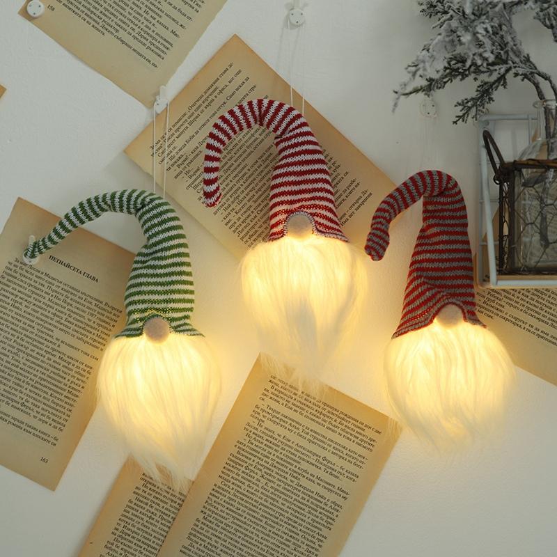 NoeL-LED-LumieRe-Cap-Raye-PoupeE-Sans-Visage-Petite-Figurine-Ornement-DeCor-L9A5 miniature 8