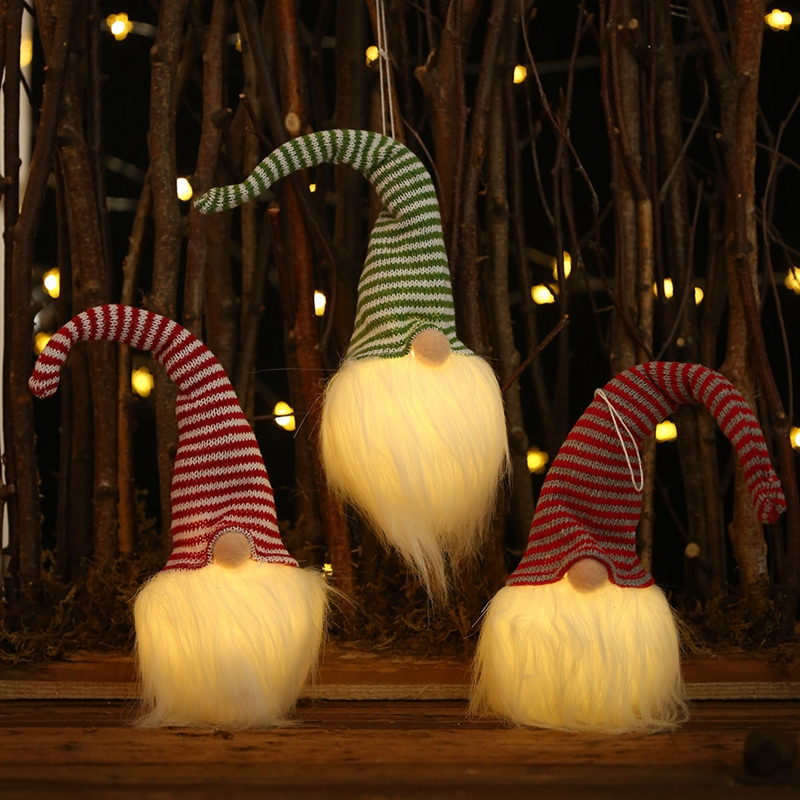 NoeL-LED-LumieRe-Cap-Raye-PoupeE-Sans-Visage-Petite-Figurine-Ornement-DeCor-L9A5 miniature 14