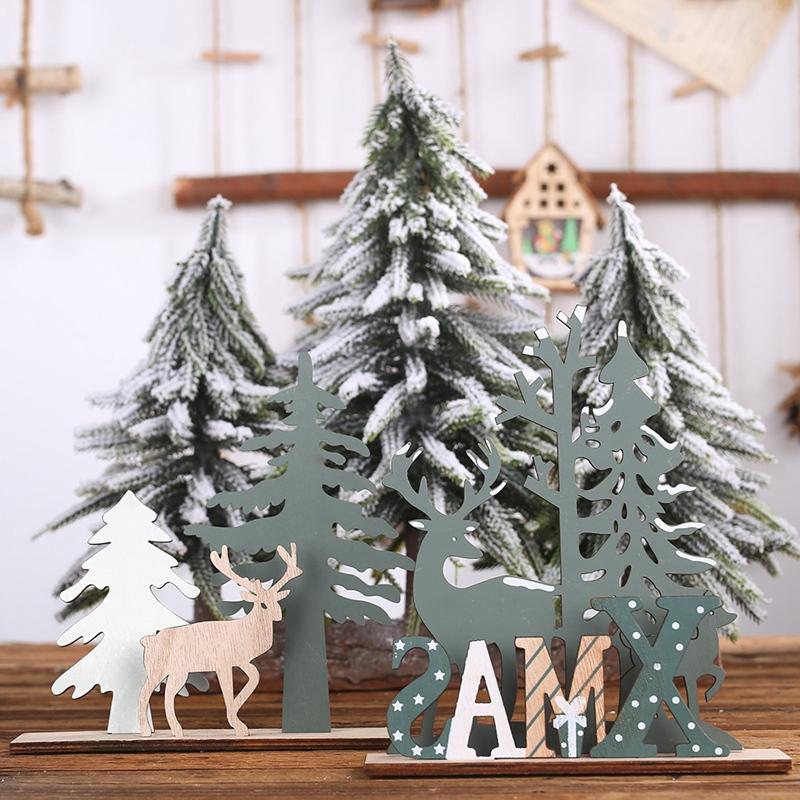 Elk-Xmas-Tree-Pendants-Hanging-Wooden-Christmas-Ornaments-Party-DIY-Decor-H-N5O7 thumbnail 4