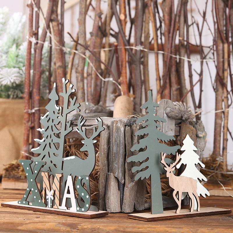 Elk-Xmas-Tree-Pendants-Hanging-Wooden-Christmas-Ornaments-Party-DIY-Decor-H-N5O7 thumbnail 5